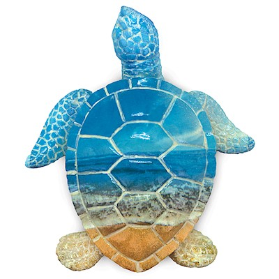 Coastal Polyresin Figurine, Painted Turtle