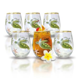 Honu Voyage Coastal Glassware, Set of 6