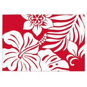 Hibiscus Floral - Red Reversible Fabric Placemat