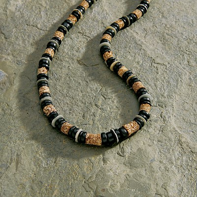 Necklace, Green Shell - Tan Black