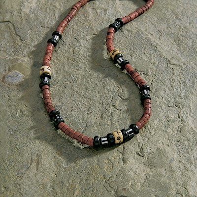 Necklace, Bone Black - Red