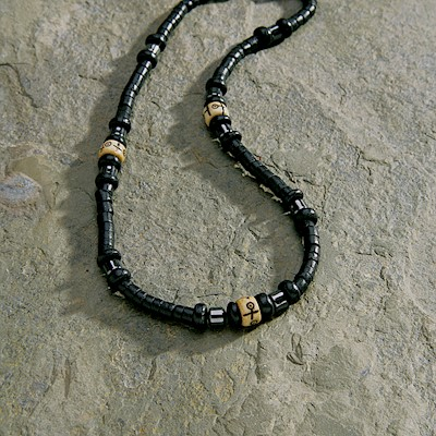 Necklace, Bone Black - Black
