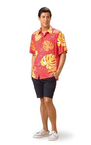 Monstera Waves II - Guava Kai Mens Classic Shirt (X-Small)