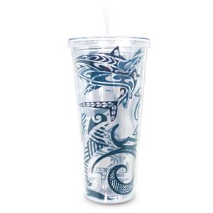 24 oz. Travel Tumbler with Straw, Tribal Shark