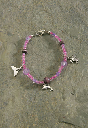 Pewter Charms Pink Bead Bracelet