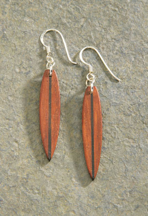 Wood Earrings 1-pr, Surfboard