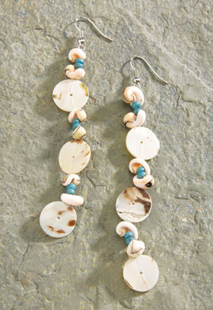 Shell Earrings 1-pr, A4622