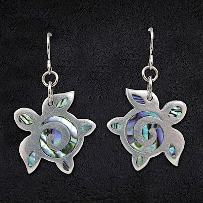 Pewter Earrings 1-pr, Paua - Honu
