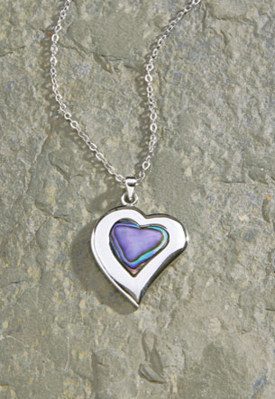 Pewter Chain Pewter/Paua - Heart