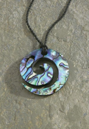 Black Rope Cord with Paua Pendant Necklace Koru