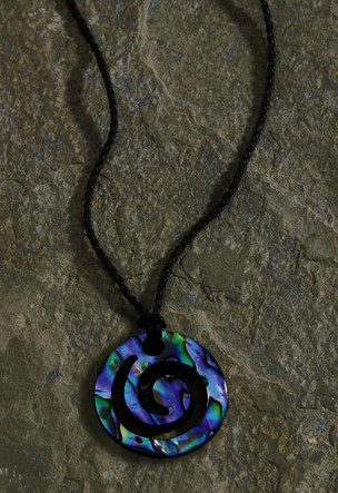 Black Rope Cord with Paua Pendant Necklace closed Koru