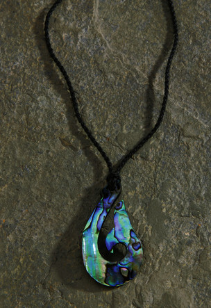 Black Rope Cord with Paua Pendant Necklace Hook (Large)