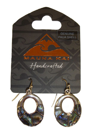 Shell/Pewter Earrings 1-pr, Paua - Oval Dangling