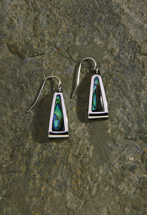 Shell/Pewter Earrings 1-pr, Paua Triangle Dangling
