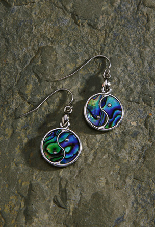 Shell/Pewter Earrings 1-pr, Paua - Yin Yang Dangling