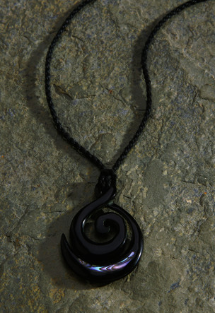 Black Rope Cord with Horn Paua Pendant Necklace Koru