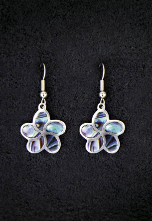 Pewter Earrings 1-pr, Paua - Plumeria