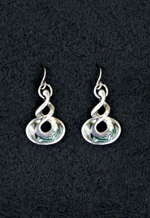Pewter Earrings 1-pr, Paua - Twist