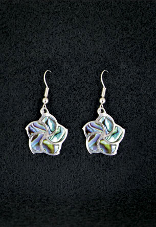 Pewter Earrings 1-pr, Paua - Hibiscus