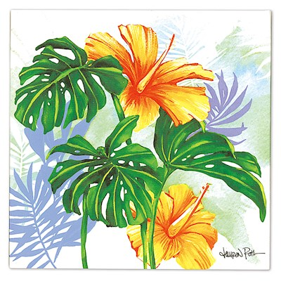 Lauren Roth Wall Art Canvas Print, Monstera Hibiscus