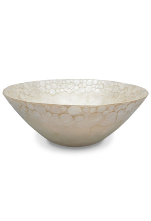 Small Round Bowl, Capiz Medallions - Natural