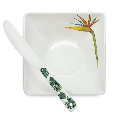 Lauren Roth Dip Bowl & Spreader | Tropical Garden