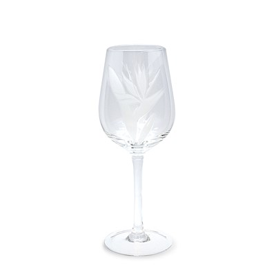 Etched Wine Glass, Bird of Paradise