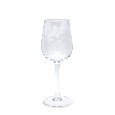Etched Wine Glass, Plumeria