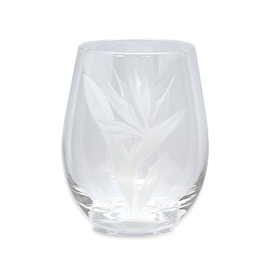 Etched Stemless Wine Glass, Bird of Paradise