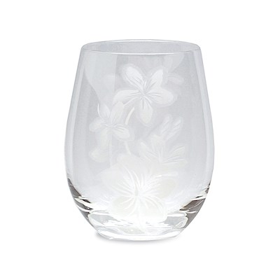 Etched Stemless Wine Glass, Plumeria