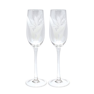 Bird of Paradise Etched Champagne Flute Set