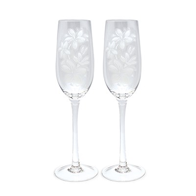 Plumeria Etched Champagne Flute Set