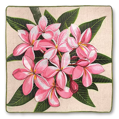 Cotton Linen Embroidered Pillow Cover - Pink Plumeria