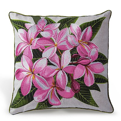Cotton Linen Embroidered Pillow - Pink Plumeria