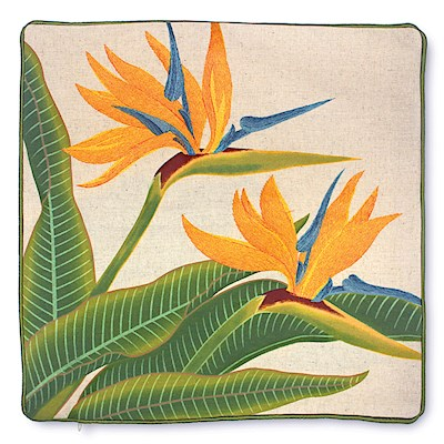 Cotton Linen Embroidered Pillow Cover - Bird Of Paradise
