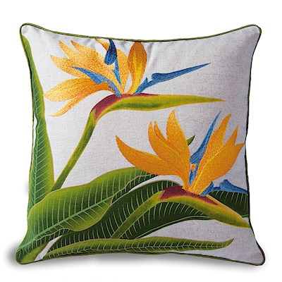 Cotton Linen Embroidered Pillow - Bird Of Paradise