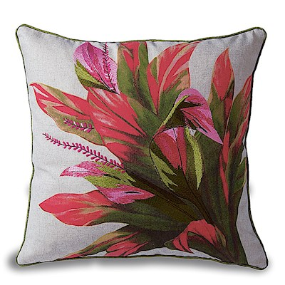 Cotton Twill Embroidered Pillow - Ti Leaf