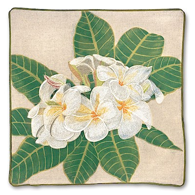 Cotton Linen Embroidered Pillow Cover - White Plumeria