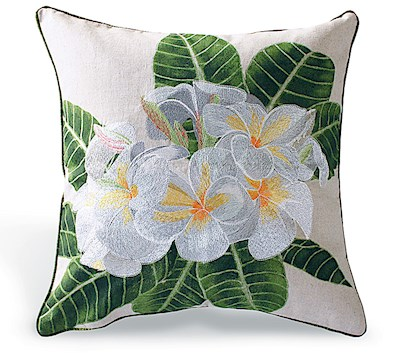 Cotton Linen Embroidered Pillow - White Plumeria