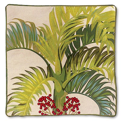 Cotton Linen Embroidered Pillow Cover - Manila Palm