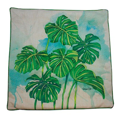 LAUREN ROTH PILLOW COVER EMBROIDERED - MONSTERA GROVE