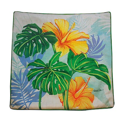 LAUREN ROTH PILLOW COVER EMBROIDERED - MONSTERA HIBISCUS