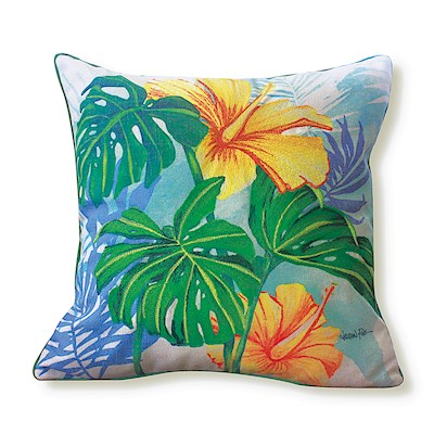 LAUREN ROTH PILLOW EMBROIDERED - MONSTERA HIBISCUS