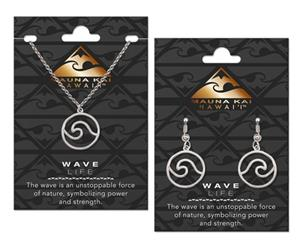 EARRING & NECKLACE SET, CHARM WAVE SILVER
