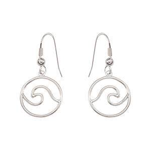 Charm Earrings 1-pr, Wave - Silver
