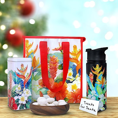 Island Garden Flask & Tote Gift Set with Tea Cookies (Black)