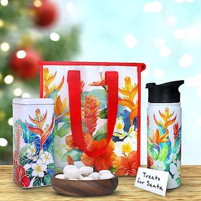 Island Garden Flask & Tote Gift Set w/ Tea Cookies (White)