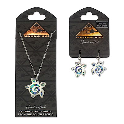 Earring & Necklace Set, Paua Honu