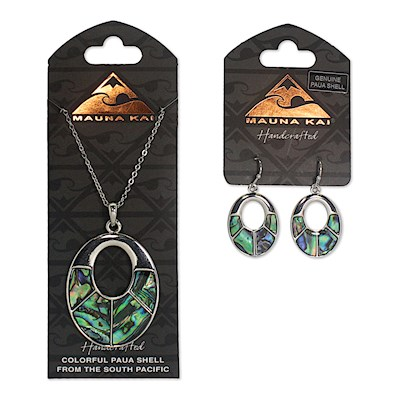 Earring & Necklace Set, Paua Oval