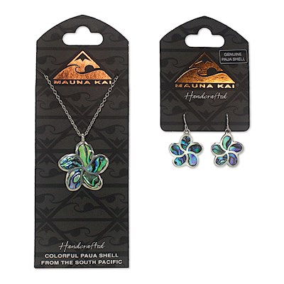 Earring & Necklace Set, Paua Plumeria